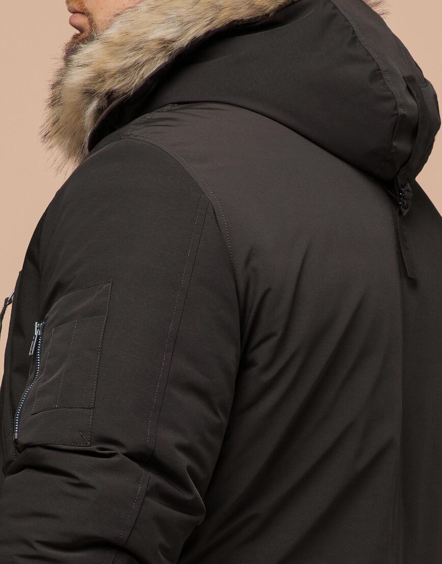 Зимняя коричневая парка удобная модель 13475 фото 6