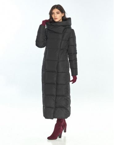 Длинная чёрная куртка женская Vivacana стильная 8706/21 фото 1