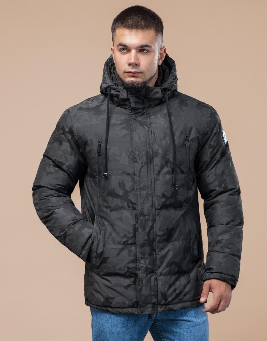 Темно-серая куртка дизайнерская зимняя комфортная модель 25460 фото 3