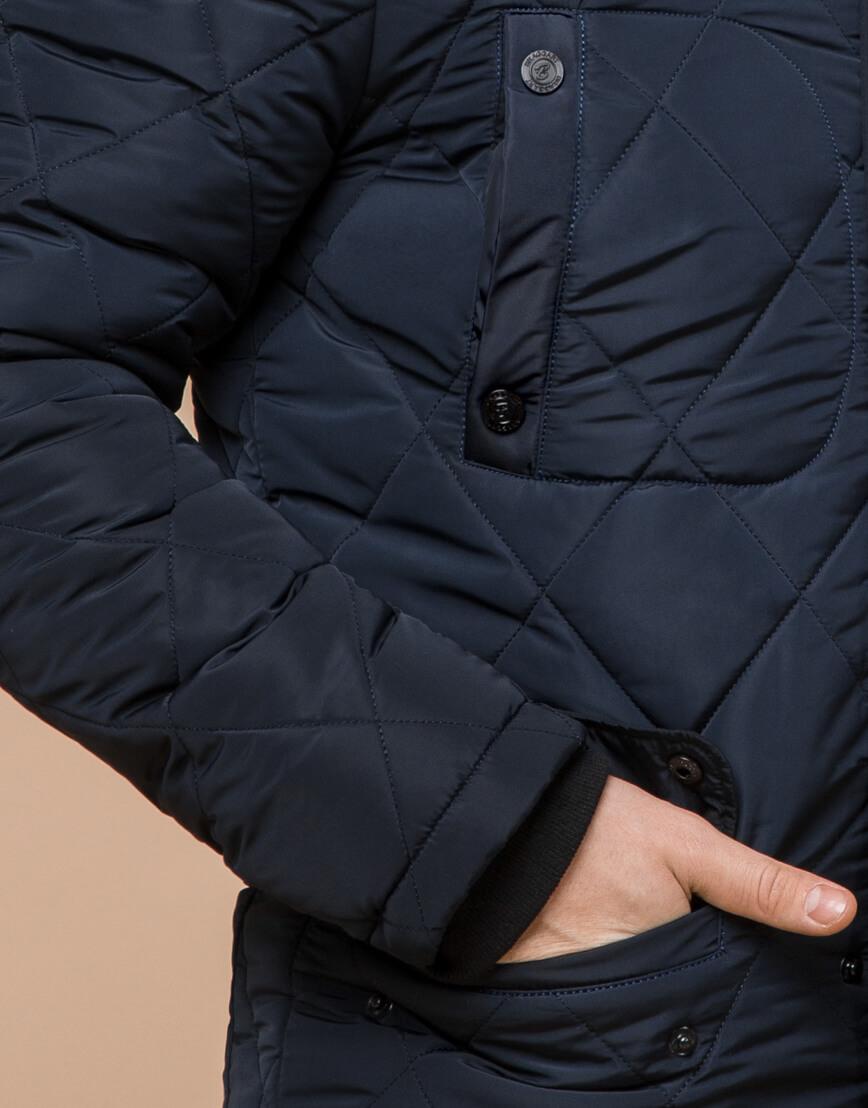 Синяя куртка качественного пошива на зиму модель 44842 фото 6