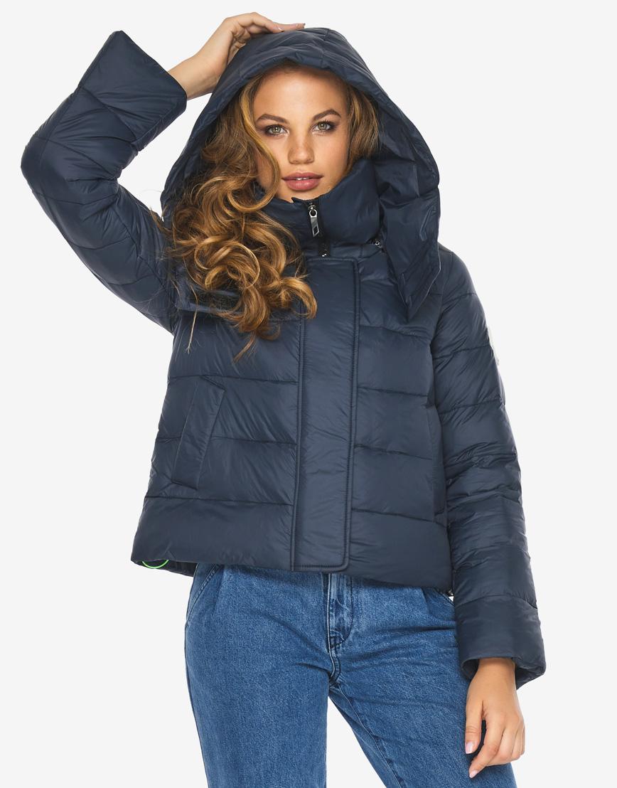 Пуховик куртка Youth темно-синяя трендовая женская модель 21470 фото 5