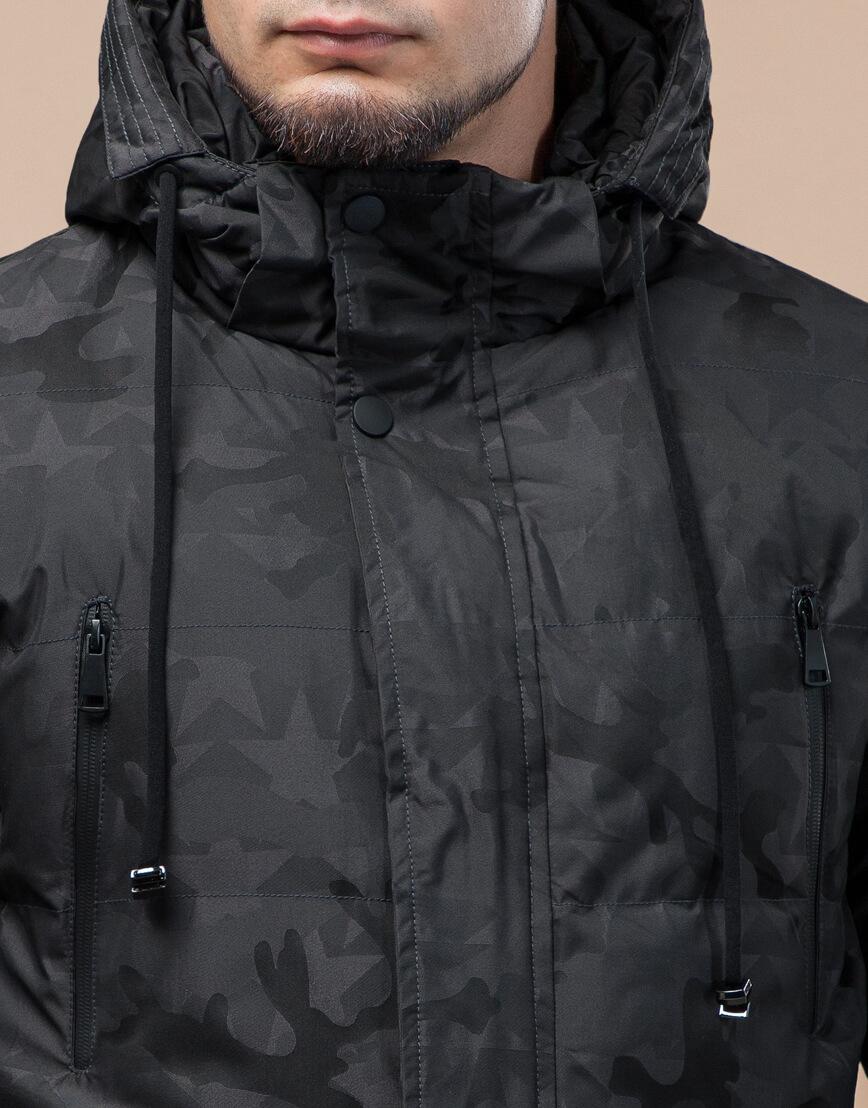 Темно-серая куртка дизайнерская зимняя комфортная модель 25460 фото 5