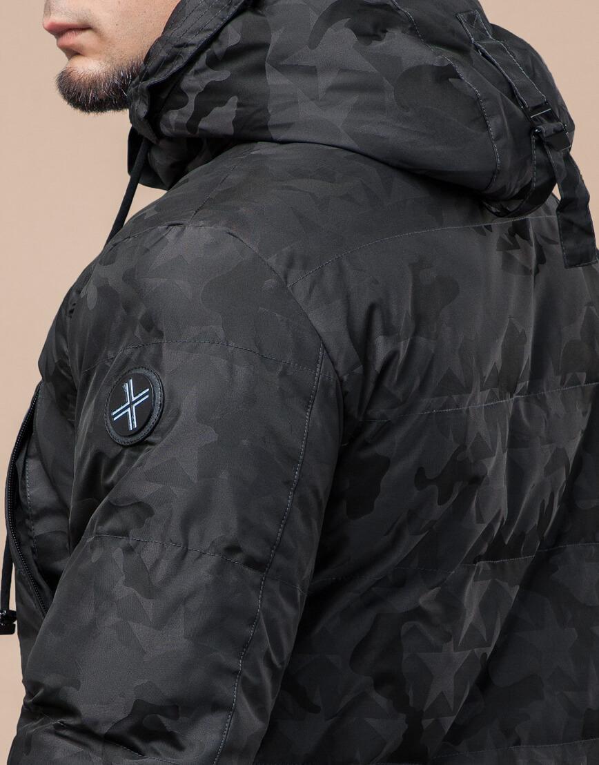 Темно-серая куртка дизайнерская зимняя комфортная модель 25460 фото 7