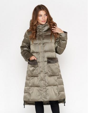 Куртка женская стильного фасона цвет оливковый модель 8888