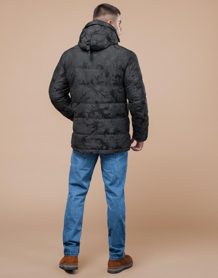 Темно-серая куртка дизайнерская зимняя комфортная модель 25460 фото 4