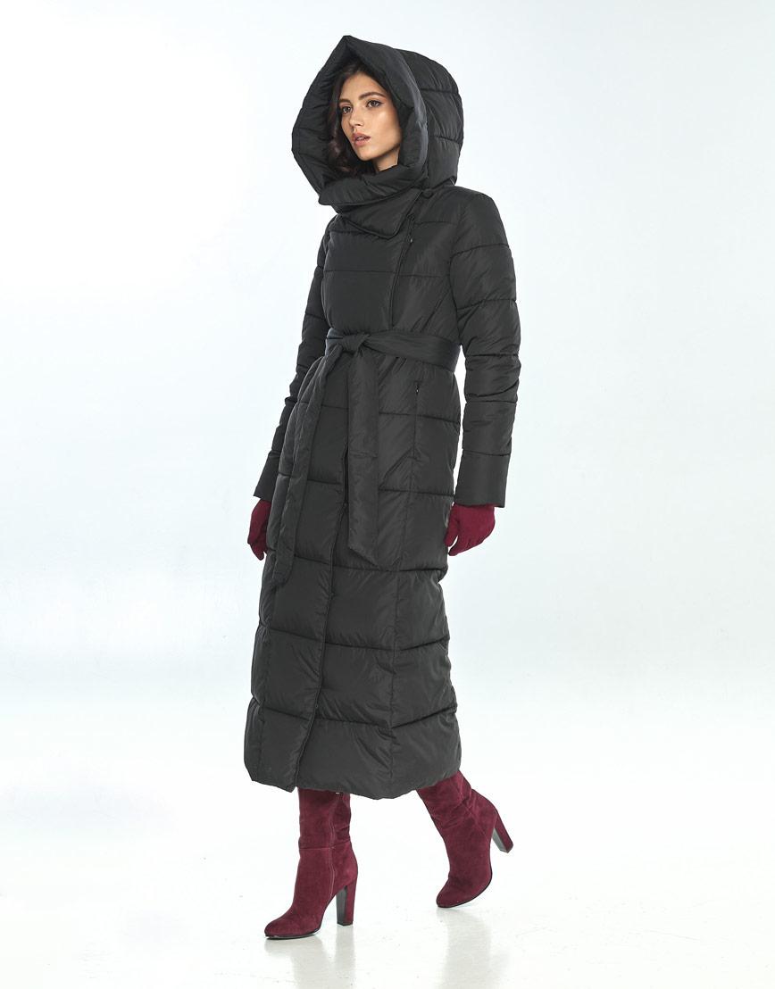 Длинная чёрная куртка женская Vivacana стильная 8706/21 фото 2