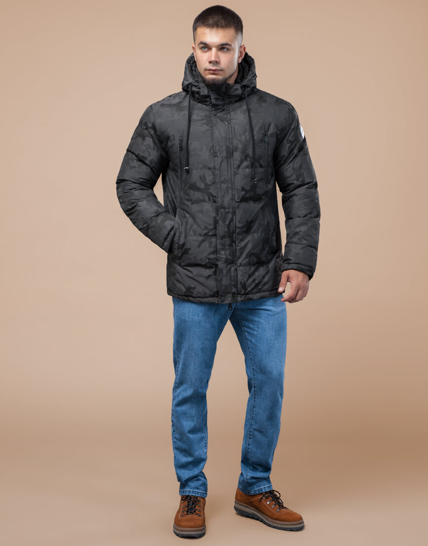 Темно-серая куртка дизайнерская зимняя комфортная модель 25460 фото 1