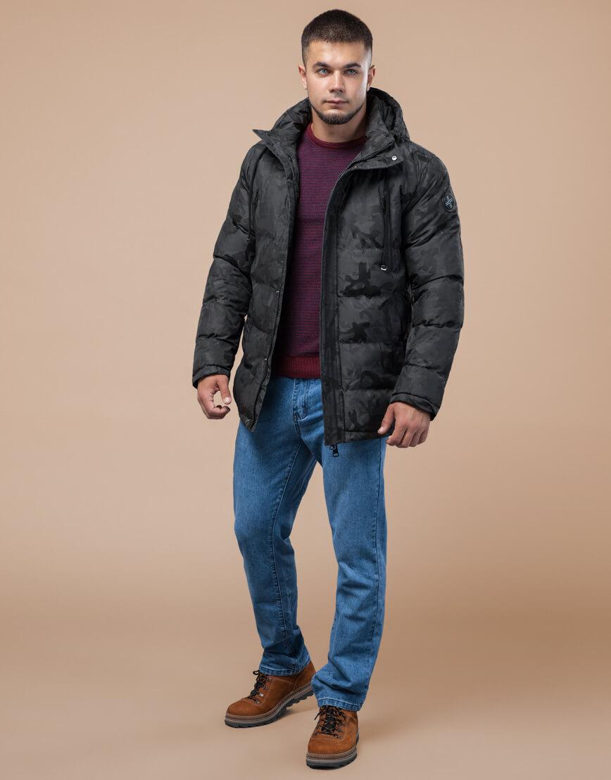 Темно-серая куртка дизайнерская зимняя комфортная модель 25460 фото 2