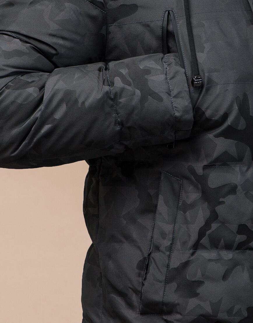 Темно-серая куртка дизайнерская зимняя комфортная модель 25460 фото 6