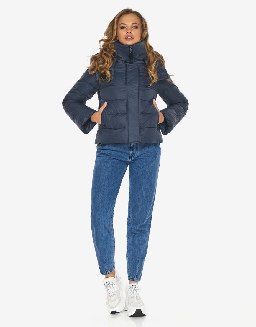 Пуховик куртка Youth темно-синяя трендовая женская модель 21470 фото 3
