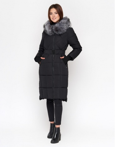 Длинная черная куртка женская модель 18013