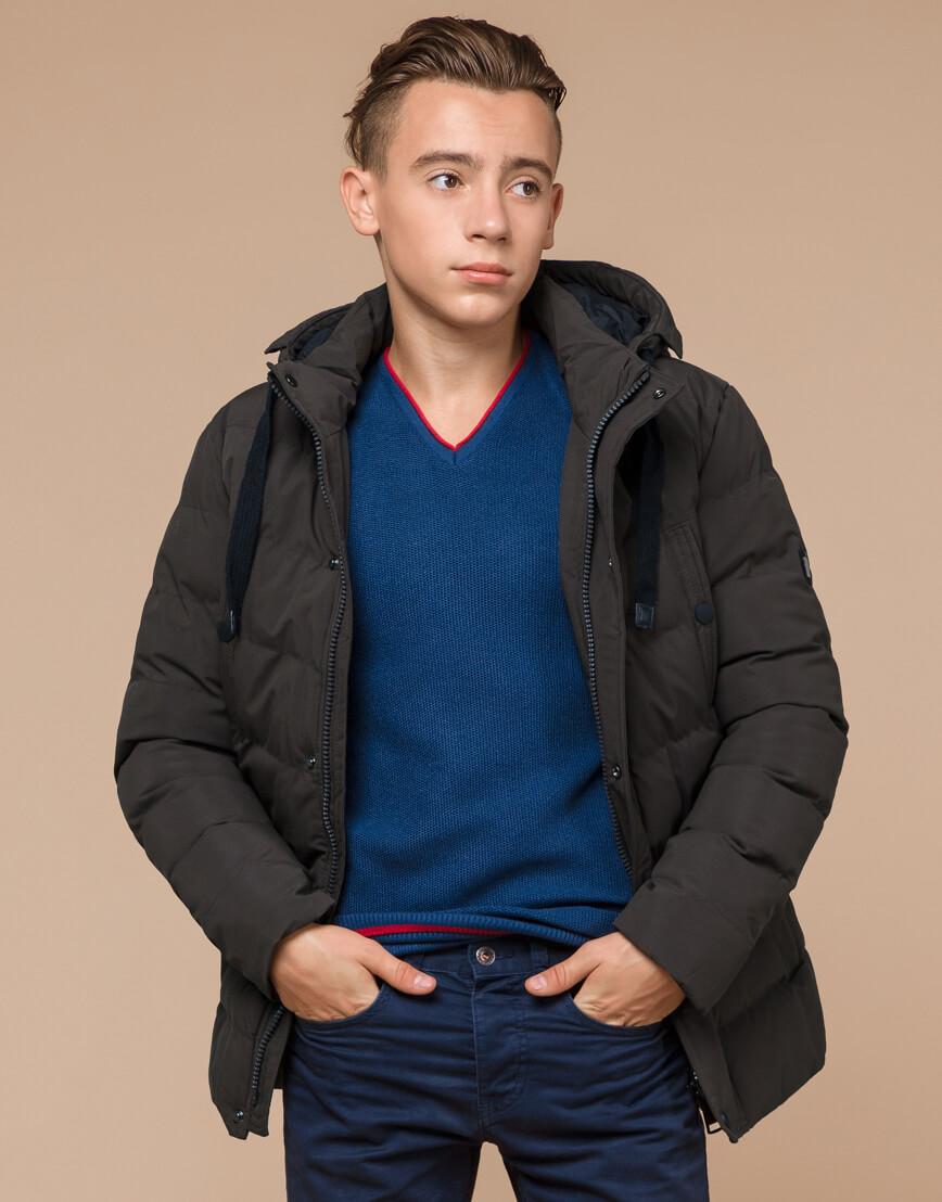 Куртка зимняя цвета кофе трендовая модель 25480 фото 2