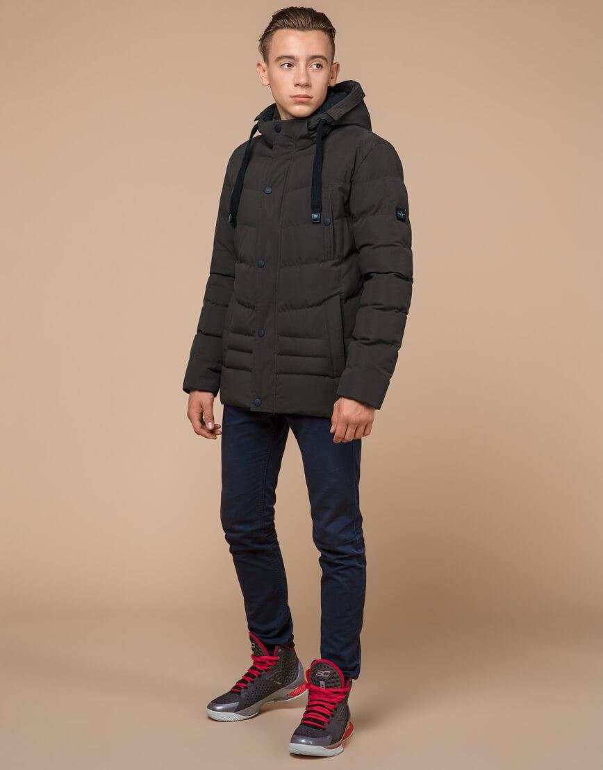 Куртка зимняя цвета кофе трендовая модель 25480 фото 1