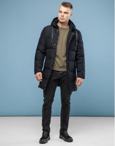 Современная куртка черного цвета модель 6001 оптом