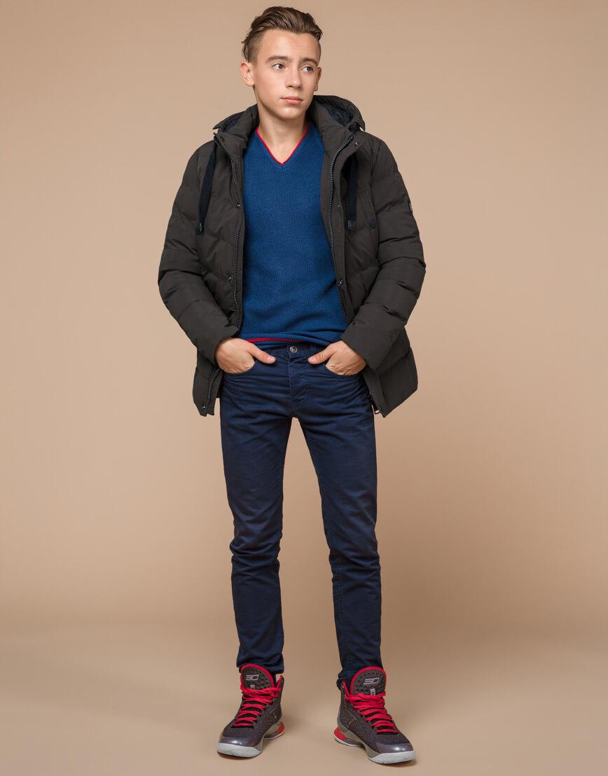 Куртка зимняя цвета кофе трендовая модель 25480 фото 3